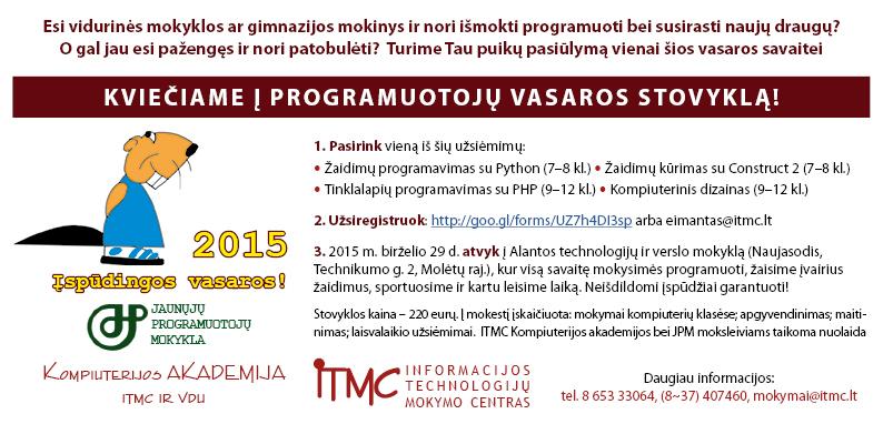 """VšĮ """"Informacijos technologijų mokymo centras"""" kviečia į programuotojų vasaros stovyklą"""
