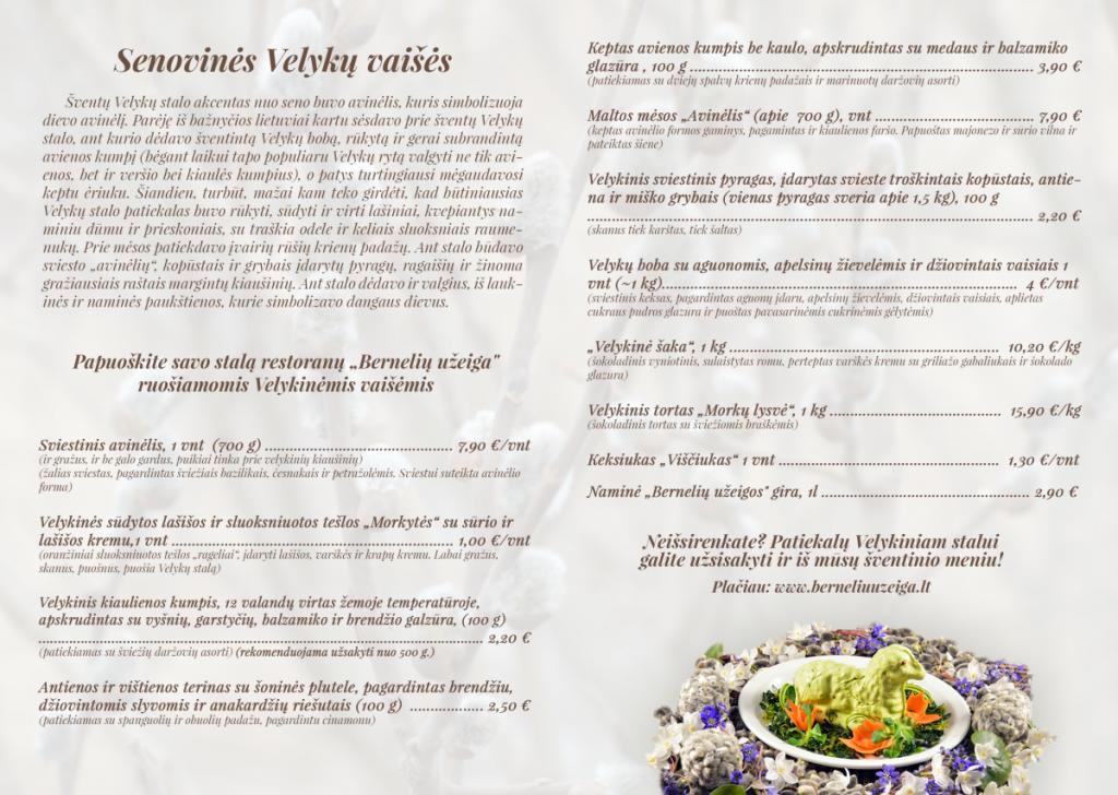 """Papuoškite savo  stalą restoranų  """"Bernelių užeiga"""" ruošiamomis Velykinėmis vaišėmis"""