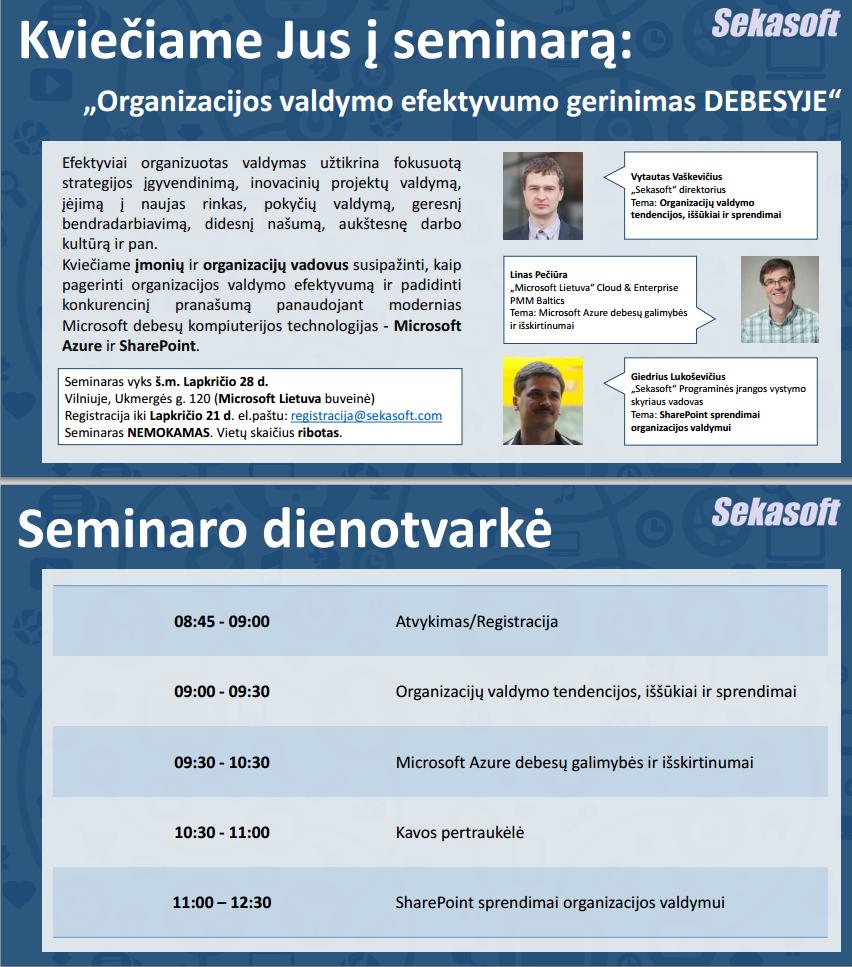 """UAB """"Sekasoft"""" kviečia į nemokamą seminarą"""